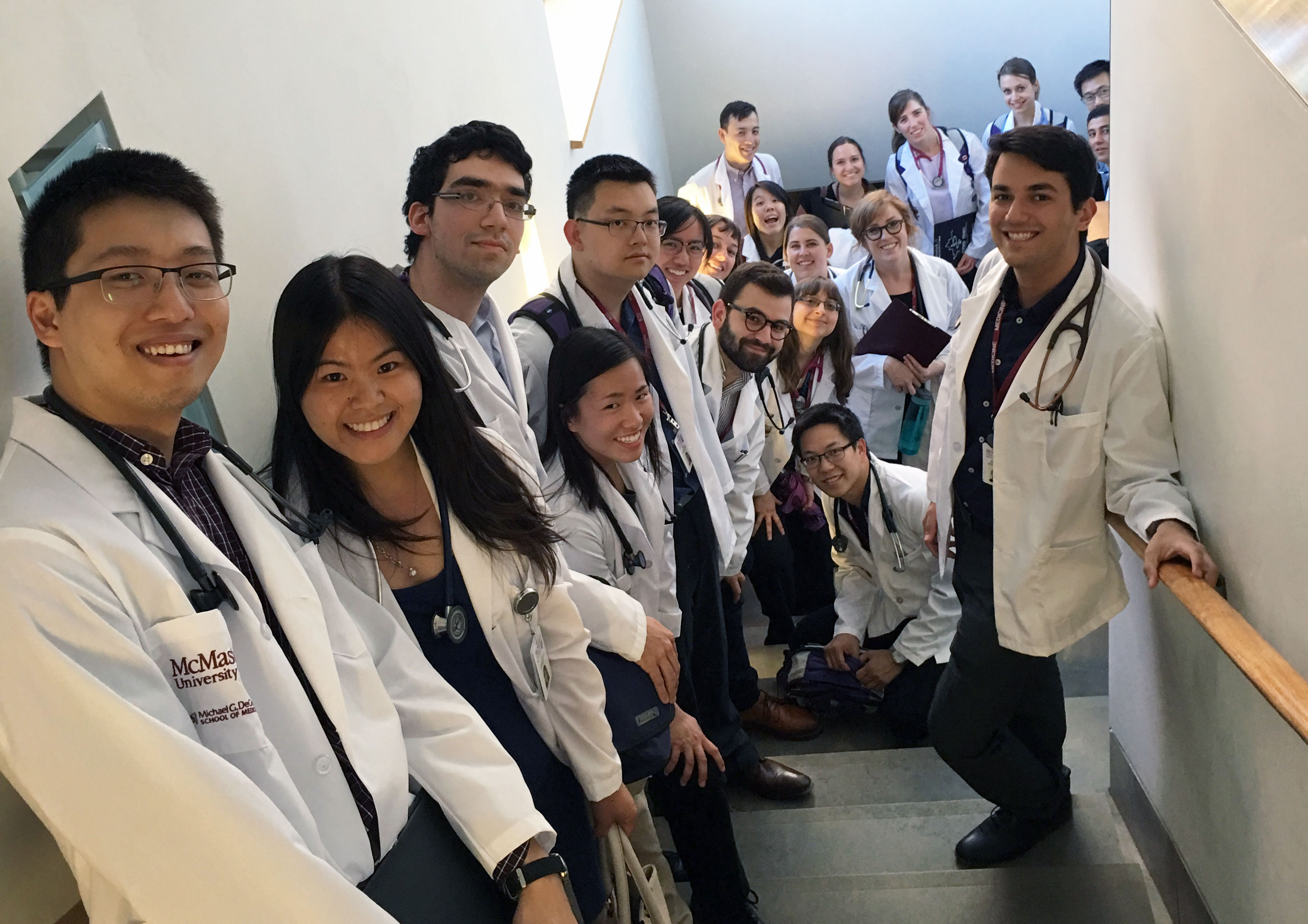 First-year medical students of the Waterloo Regional Campus prepare for their clinical exam at Grand River Hospital's regional cancer centre
